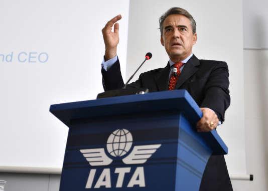 Le directeur général de l'association internationale du transport aérien (IATA) Alexandre de Juniac en décembre 2014 à Genève.