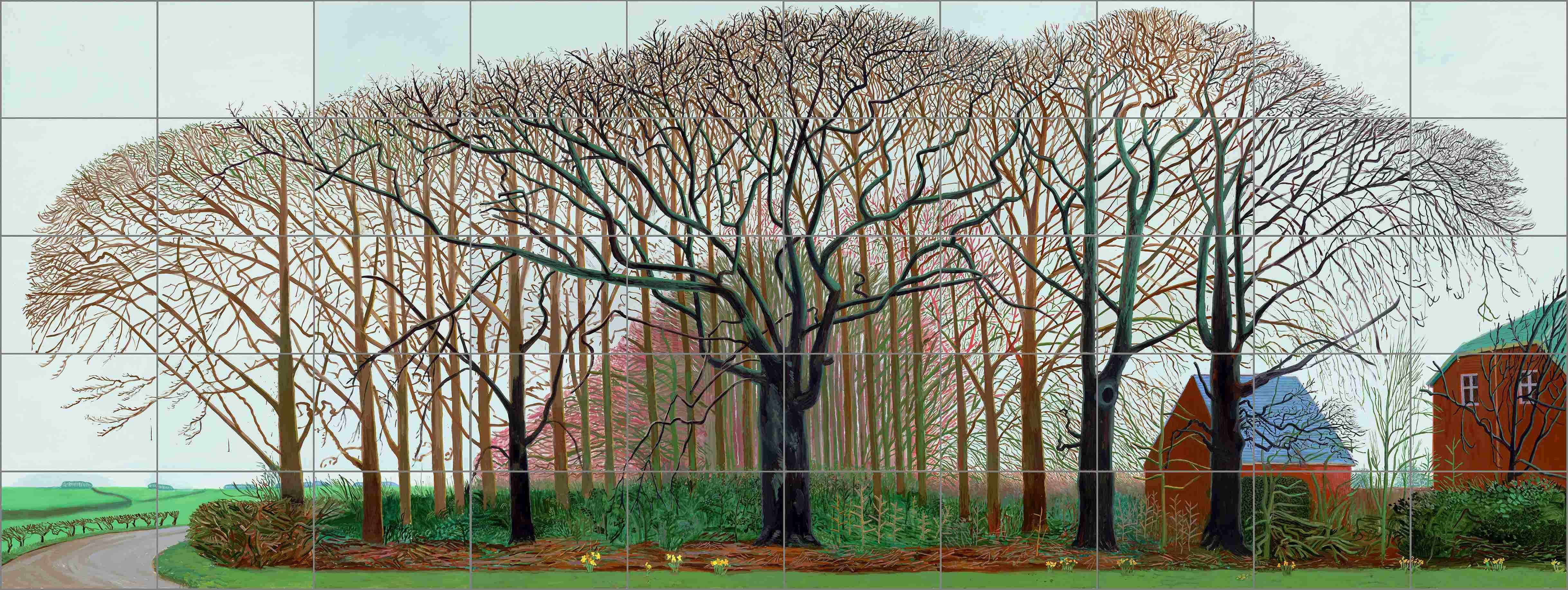 «Au début du troisième millénaire, David Hockney revient sur les sites de son enfance. Le passage des saisons devient le seul véritable sujet de ses paysages du Yorkshire. A l'exubérance immuable de la botanique californienne, succède une végétation qui traverse les cycles de la croissance et du déclin. Ce cycle saisonnier inspire au peintre une méditation empreinte de la gravité des mythes les plus immémoriaux.»