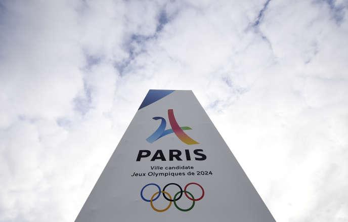 Le logo de Paris 2024 au Bourget.