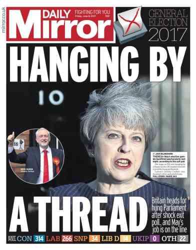 « Suspendue à un fil», pour le« Daily Mirror».