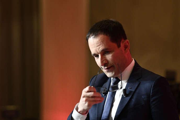 Benoît Hamon, à la Maison de la mutualité, à Paris, le 23 avril.