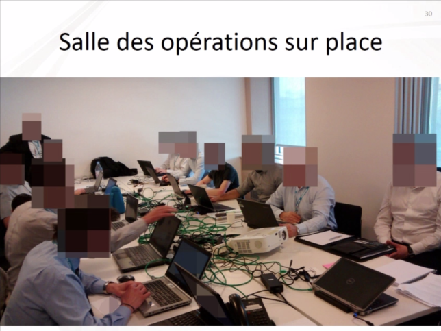 Les agents de l'ANSSI et les équipes de TV5 Monde à l'ouvrage pour récupérer le contrôle de leur réseau.