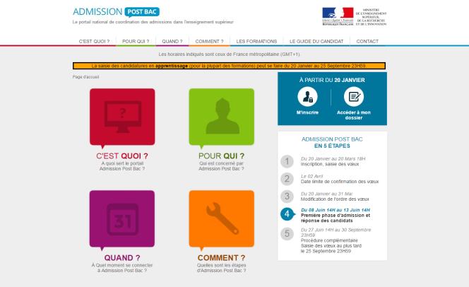 Capture d'écran de la page d'accueil d'APB 2017.
