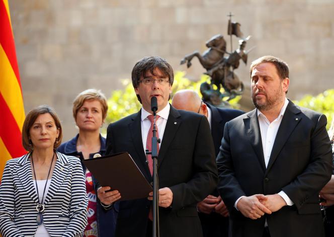 Carles Puigdemont annonce la date du référendum, vendredi 9 juin, à Barcelone.