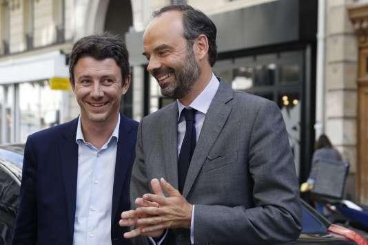 Benjamin Griveaux (candidat LRM à Paris) et Edouard Philippe, à Paris, le 9 juin.