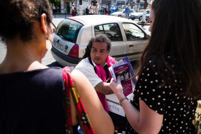 Ryadh Sallem, candidat aux élections législatives dans la 10e circonscription de Paris, soutenu par le PS, à Paris le 1er juin.
