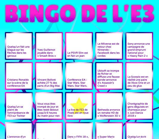 Le Bingo de l'E3.