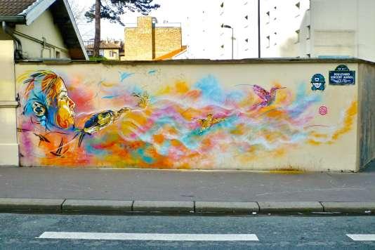La fresque originale de C215, Boulevard Vincent Auriol, dans le 13e arrondissement de Paris.