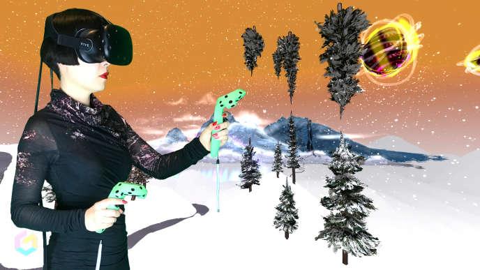 L'artiste Drue Kataoka photographiée dans son oeuvre de réalité virtuelle «Winter Landscape with a Unicorn & a Magic Lake», en juin 2017.
