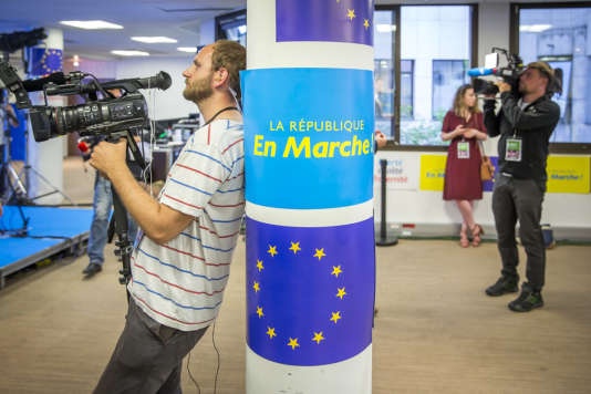 Soirée de résultats du premier tour des élections législatives au siège de la République en marche, à Paris le 11 juin.