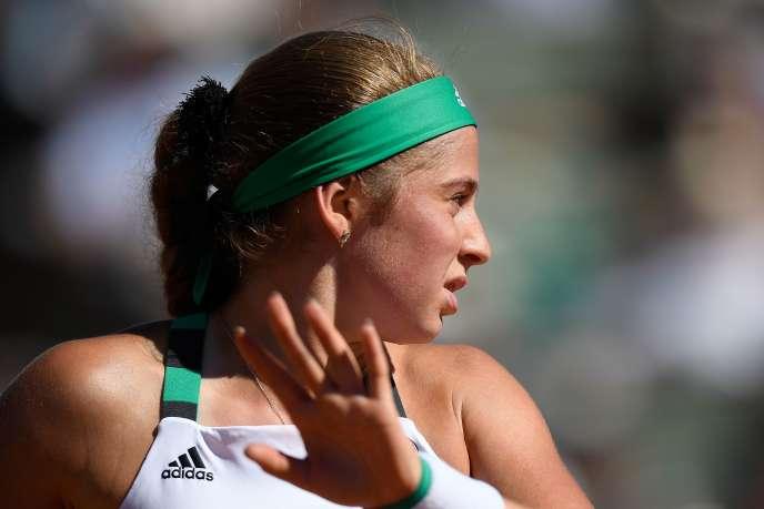 La joueuse lettonne Jelena Ostapenko lors de son match contre la Roumaine Simona Halep, à Roland-Garros le 10 juin.