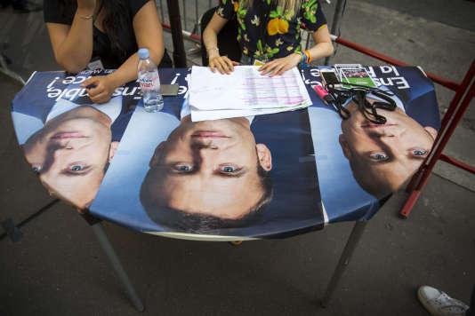 Au siège d'En marche !, à Paris, dimanche 11 juin.