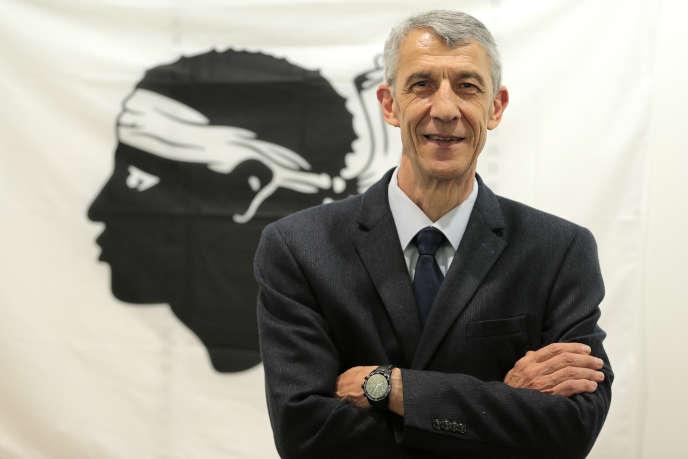 Michel Castellani (ici à Bastia le 15 mai) de Pè a Corsica est arrivé en tête dans sa circonscription de Haute-Corse.