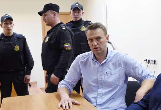 Alexeï Navalny dans un tribunal moscovite, après son arrestation à Moscou, le 12juin 2017.