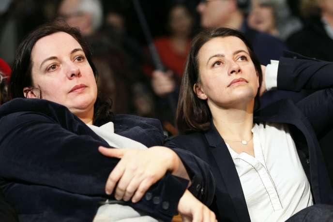Emmanuelle Cosse et Cécile Duflot ont toutes deux échoué à se qualifier pour le second tour des législatives, la première en Seine-Saint-Denis et la seconde à Paris. Ici lors d'un meeting d'Europe Ecologie-Les Vertsà Paris, en février 2016.