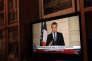 Emmanuel Macron lors de son allocution télévisée en anglais appelant à « rendre à la planète sa grandeur (Make our planet great again), vendredi 1er juin 2017.