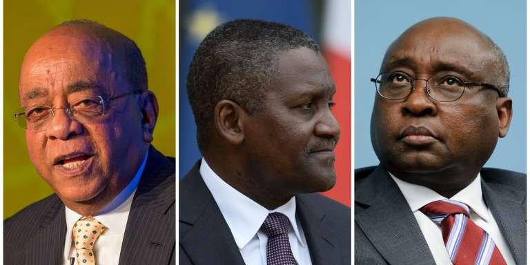 Mo Ibrahim, président de la Fondation Mo Ibrahim, Aliko Dangote, PDG du Groupe Dangote, et Donald Kaberuka, ancien président de la BAD.
