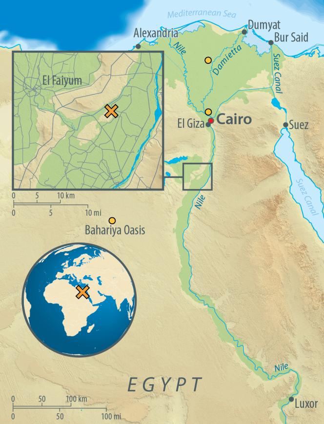 Carte d'Egypte montrant le site archéologique d'Abousir-Al-Malek (croix orange) et les endroits où ont été prélevés les échantillons modernes d'ADN (cercles orange).