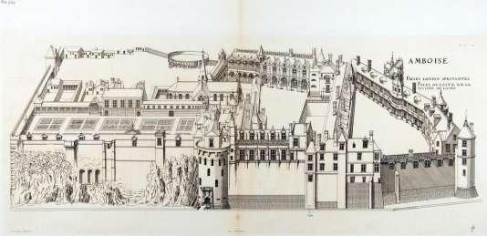 Vue en élévation du château d'Amboise, par Jacques Androuet Du Cerceau. On distingue à gauche le« jardin de Naples».