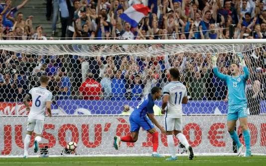 Lors de la rencontre amicale entre la France et l'Angleterre, le 12juin, au Stade de France.