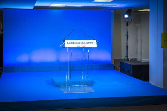 Soirée de résultats du premier tour des élections législatives au siège de En Marche! à Paris, dimanche 11 juin 2017