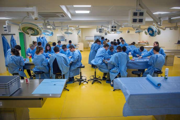 Des étudiants en médecine de deuxième année à l'université de Poitiers (Vienne), le 4 février 2016.