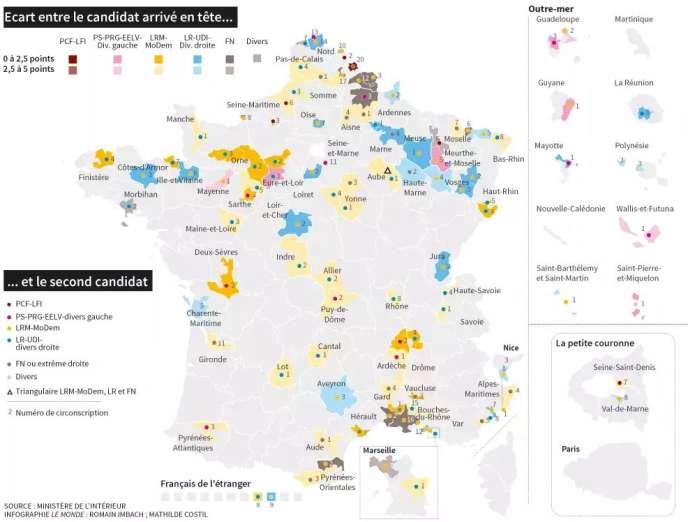 104 circonscriptions incertaines pour le second tour des législatives.