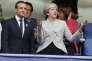 Emmanuel Macron et Theresa May au Stade de France pour le match France-Angleterre, le 13 juin.