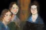 Charlotte, Emily, Anne et, effacé, à l'arrière-plan, Branwell Brontë. Toile de Branwell, 1834.