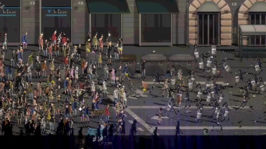 Des développeurs indépendants, tentant de prendre d'assaut le Convention Center de Los Angeles(allégorie – et accessoirement, screenshot de « Riot»).