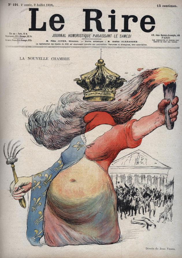 En 1898, le cœur de Marianne balance entre monarchistes et républicains sur ce dessin de Jean Veber, publié dans le journal satirique «LeRire».
