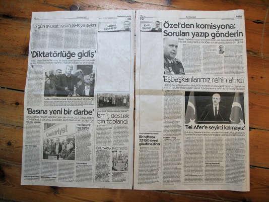 Depuis l'arrestation de Kadri Gürsel, le 31 octobre 2016, « Cumhuriyet » paraît en laissant la colonne réservée à son éditorial viergeLinda Say/DPA/AFP