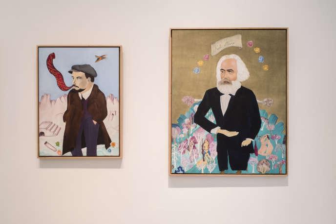 Lénine et Marx, par la Chilienne Cecilia Vicuña, deux huiles sur toile de 1972.