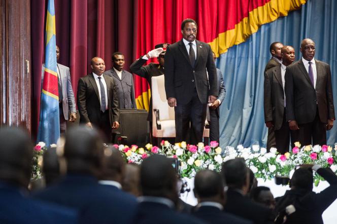 Joseph Kabila à Kinshasa le 5 avril 2017.