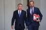 Edouard Philippe et François Bayrou, sortant ensemble du conseil des ministres, àl'Elysée, le 14 juin.