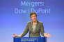 La commissaire européenne à la concurrence, la Danoise Margrethe Vestager, lors d'une conférence de presse sur la fusion Dow Chemical et DuPont, le 27 mars 2017.