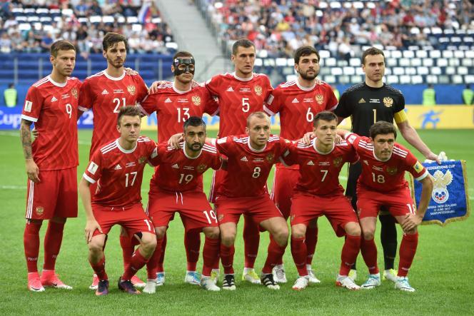 L'équipe de Russie, le 17juin, lors du match d'ouverture de la Coupe des confédérations contre la Nouvelle-Zélande.