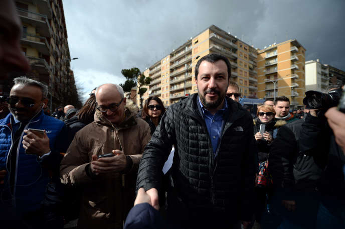 Matteo Salvini, en 2016 à Rome. Le chef de file de la Ligue du Nord ne décolère pas contre Ismaele La Vardera, dont ilsoutenait la candidature à Palerme.