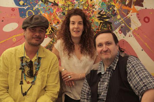 De gauche à droite : Kongo,Elise Herzcowics et Philippe Conticini au 29, rue François 1er.