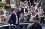 File - In this Sunday, June 11, 2017 file photo, French President Emmanuel Macron waves to the audience as he leaves a polling station in Le Touquet, northern France, after casting his vote in the first round of the two-stage legislative elections. Macron's 14-month-old party appears set to win a huge majority in parliamentary elections Sunday, June 18, 2017 meeting one of his most emblematic campaign promises: to bring new faces into politics. (AP Photo/Thibault Camus, File)