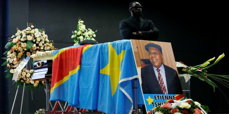 La dépouille d'Etienne Tshisekedi, à Bruxelles, en février 2017.