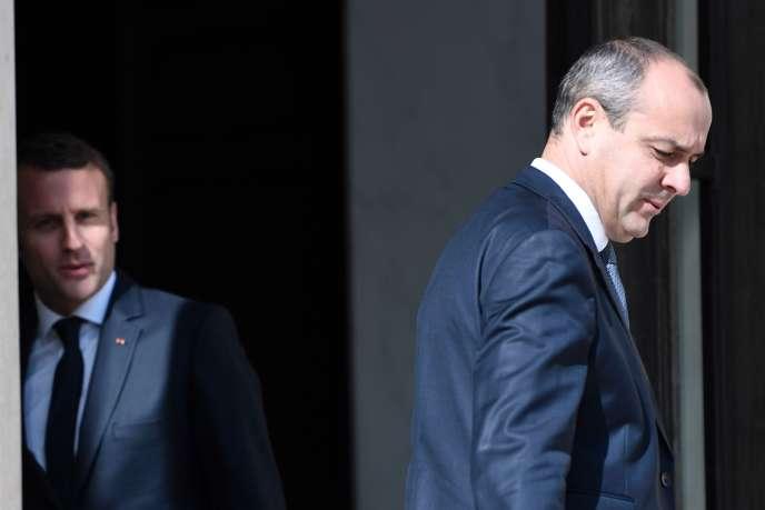 Emmanuel Macron et le secrétaire général de la CFDT Laurent Berger, à l'Elysée le 23mai.