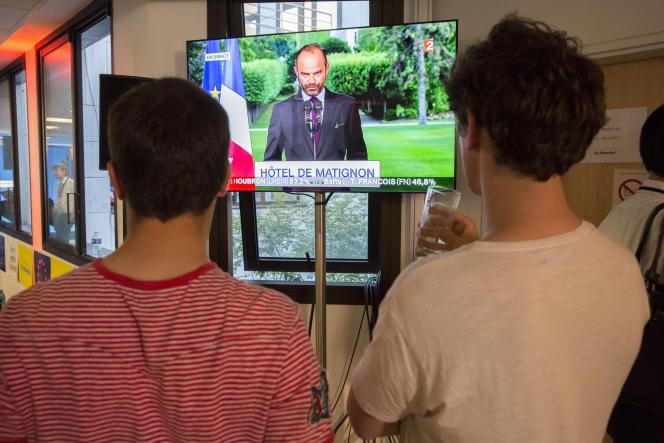 Discours d'Edouard Philippe après les résultats du second tour des législatives, au siège de La République en marche à Paris, le 18 juin.