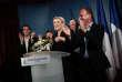 Discours de Marine Le Pen, au soir du second tour de l'élection législative, à Paris le 18 juin.