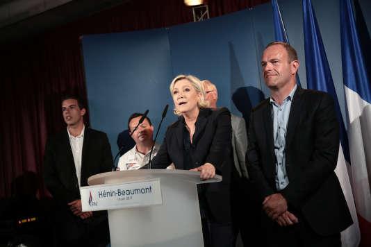 Marine Le Pen, à Hénin-Beaumont (Pas-de-Calais), le 18 juin.