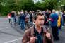 France le 14 Mai 2017 - Parking de l'usine Whirlpool à Amiens en presence de Francois Ruffin