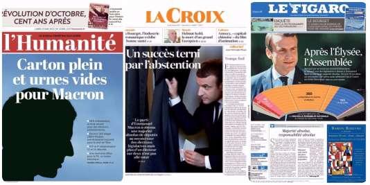 Les «unes» de la presse du 19 juin.
