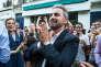 Le porte-parole de La France insoumise Alexis Corbière arrive à Montreuil (Seine-Saint-Denis) après l'annonce de sa victoire, le 18 juin.