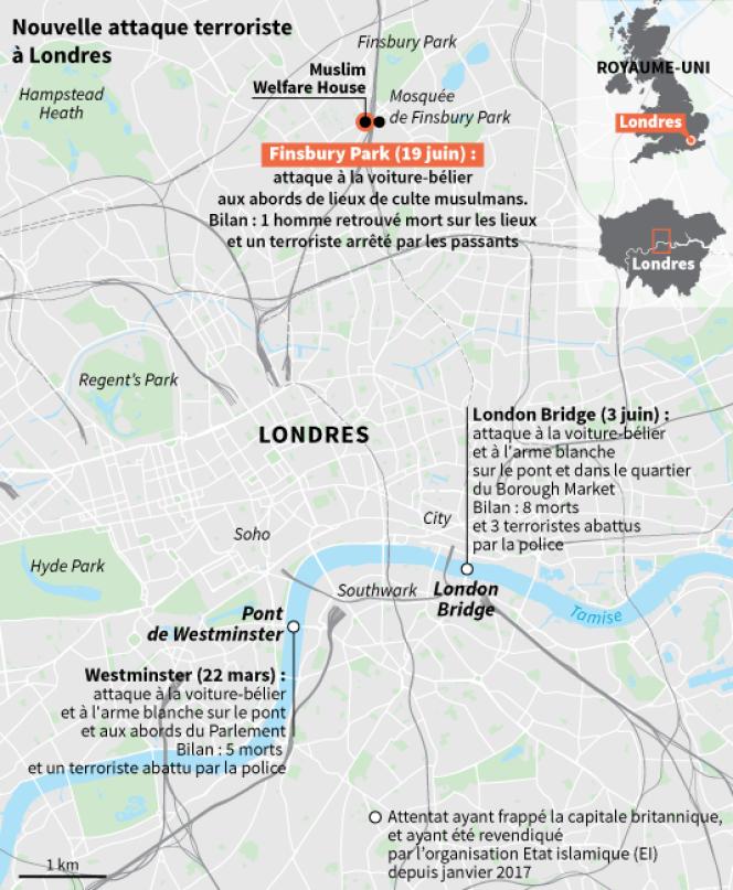 Carte résumant les dernières attaques terroristes ayant touché Londres.