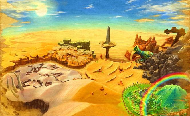 Le monde de Vistrahda, vaste désert brûlant.
